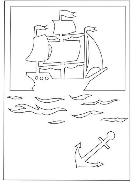 Макет кораблика для открытки 76